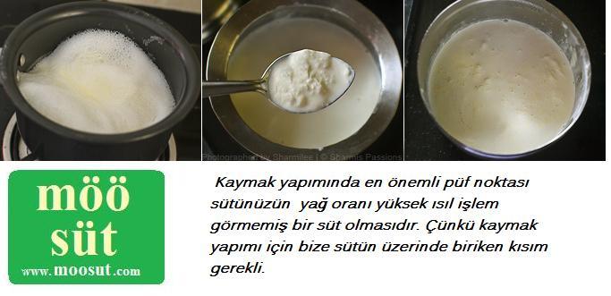 Evde süt kaymağı yapımı.